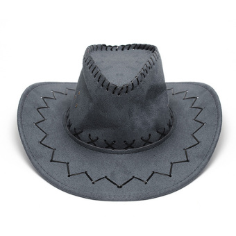 Fur Unisex Men Women Cowboy Cap Felt Material Western Sun Visor Knight Hat with Chin Cord Grey (Intl)