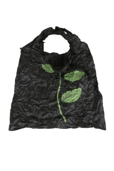 Cute 1Pc Rose Flowers Reusable Folding Shopping Bag Travel Grocery Black - Intl