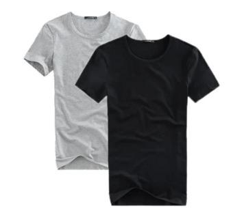 Combo 2 áo thun nam cổ tròn mềm mịn, thấm hút tốt (Xám/Đen) thoitrangtrandoanh