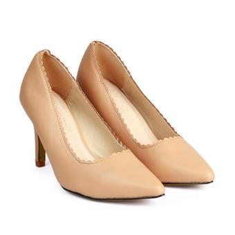 Giày Nữ Gót Nhọn Viền Cắt Laser HC1360 (Kem).