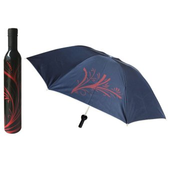Outdoor Wine Bottle Sun Rain Folding UV Umbrella Fashion Girl Boy #3 (Black) (Intl)