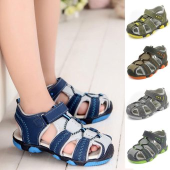 Moonar Boys Summer Sandal Children Casual Breathable Antiskid Leather Shoes (Blue) - intl