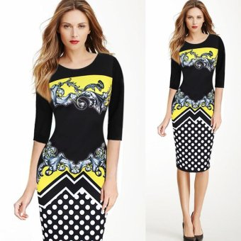 Kenancy Women Elegant Printing Dress Fashion Polka Dot Retro Style Half Sleeve Sheat Dress (Yellow) - intl