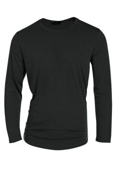 Cyber COOFANDY Men's Casual O-Neck Long Sleeve Solid Side Zipper T-Shirt Tops (Black) - Intl