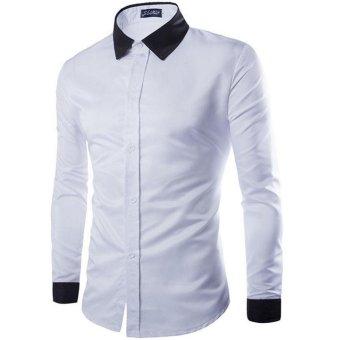 Mens Casual Slim Fit Formal Shirts (White) (XXL) - intl