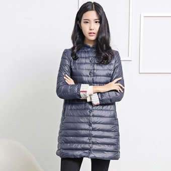 Women Padded Coat Collarless Long Sleeve Solid Color (Cadetblue) - Intl