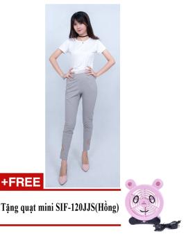 Quần dài nữ thời trang, lưng thun, ống quần hoa lá cách điệu ZASKIN ZA04Q7 + Tặng quạt mini shinil SIF-120JJS (Hồng)