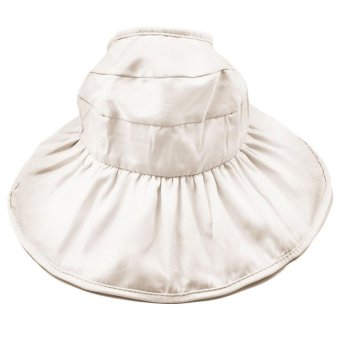 Fashion Kid Girls Wide Brim Petal Shape Summer Sun Beach Bucket Hat Cap Sun Protection Hollow Out Style Beige - intl