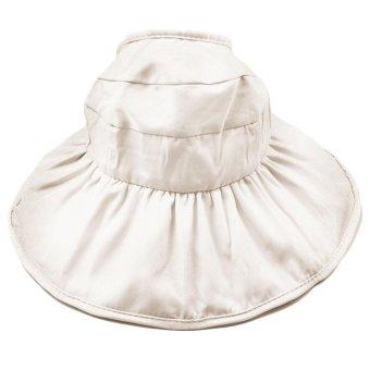 Fashion Kid Girls Wide Brim Petal Shape Summer Sun Beach Bucket Hat Cap Sun Protection Hollow Out Style Beige - intl