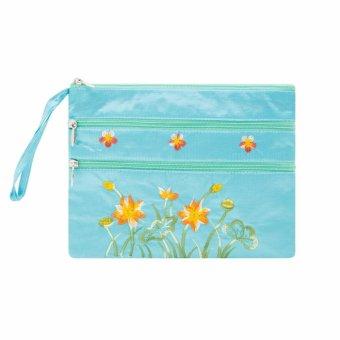 Ví cầm tay 3 khóa Hoian Gifts vải lụa thêu hoa (xanh da trời) HA-50P