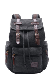 Men's Cotton Canvas Casual Drawstring Outdoor Sport Camping School Laptop Bag Schoolbag Backpack Bags Black