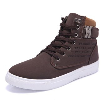 Men Matte-leather High Top Fashion Sneakers Breathable Causal Flat Sports Shoes Brown - Intl