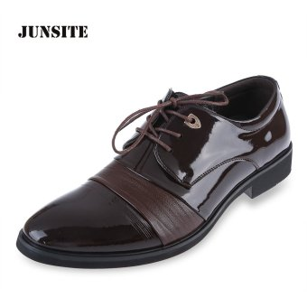 Junsite Gentleman Business Leather Oxfords Lace Up Flats (Brown) - intl