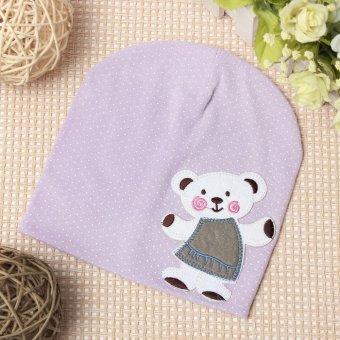 Cute Baby Boy Girl Winter Bear Beanie Hat Infant Soft Crochet Cotton Warm Cap purple - intl