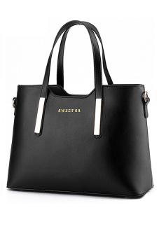 Women Ladies Large Capacity PU Leather Tote Handbag Shoulder Messenger Bag Black (Intl) - intl