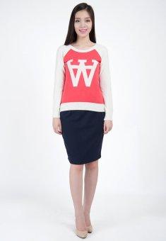 Áo len nữ chữ HQLens (Hồng phối trắng)