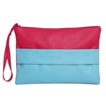 Women Fashion PU Leather Clutch(Red and Blue) - intl