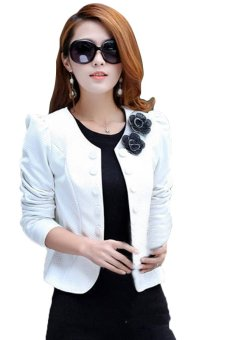 Women's Suit Long Sleeve Short Coat Jacket Outerwear (White) - Intl