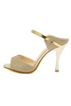 Moonar Womens High Heels Ankle Strap Peep Toe Stilettos Pumps Sandals Shoes (Gold)