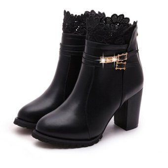 Women Thick High Heel Elastic Bootie Martins Ankle Boots Ladies Shoes - intl