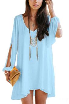 Fancyqube Summer Sexy V-neck Chiffon Dress Light Blue