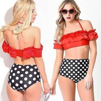 Bikini Hai MảNh Áo Đỏ Bèo Và QuầN Lưng Cao ChấM Bi