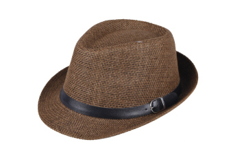Fashion Women Men Hat Fedora Trilby Cap Straw Beach Sunhat with Belt Unisex Coffee (Intl)