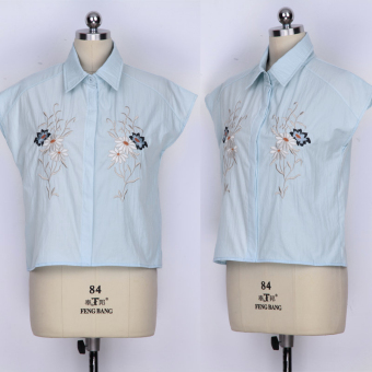 Ladies Collar Embroidery Sleeveless Shirts (Blue)--TC - intl