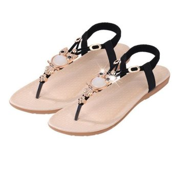 LALANG Fashion High Quality Flat Plus Size Sandals Women Shoes Comfort Rhinestone Flip-flops Black - intl