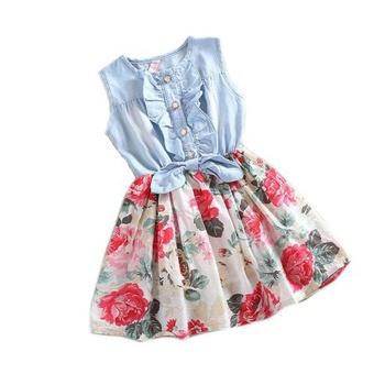 Baby Girl Tutu Denim Dress Short Sleeve Lace Princess Party Skirts 120 - intl