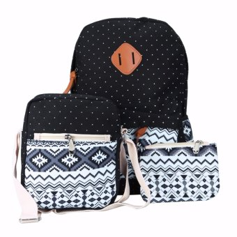 3Pcs/Sets Women Fasion Retro Canvas Backpack Girls School Bags Ethnic (Black) - intl