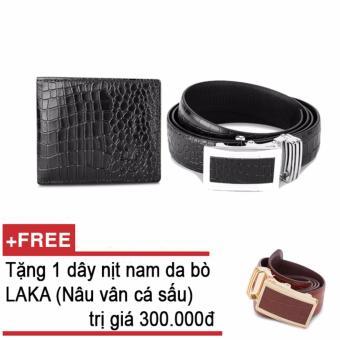 Bộ ví và thắt lưng nam da bò thật LAKA đen cá sấu + Tặng 01 thắt lưng nam da bò LAKA (Nâu vân cá sấu) trị giá 300.000đ