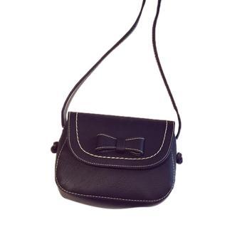 Sunweb Fashion Women Girls Bowknot Solid Small Handbag One Shoulder Bag Flap Bag ( black ) - intl