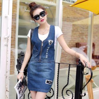Đầm yếm jean thêu LOGO phối dây kéo - DX625140