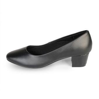 Giày Nữ Gót Vuông Mũi Bầu trơn HC1335 (Đen)
