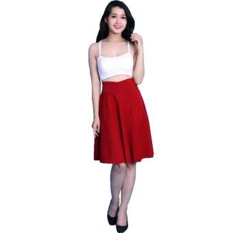 Chân váy lưng cao cách điệu Có 2 túi - V02115100 (Đỏ)