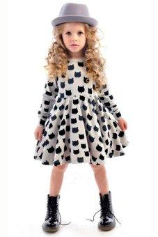 Cyber Fashion Kids Girl's Long Sleeve O-neck Polka Dot Animal Print Elastics Tutu Dress (White) - Intl