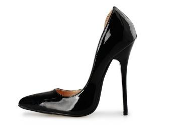 Hot Sexy Pu Party Patent 14cm Stiletto Pointed Toe Women Men High Heels Pump Shoes Plus Size 40-46, Black - intl