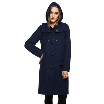 Cyber Finejo Ladies Hooded Pure Color Slim Outwear Long Wool Blend Horn Coat (Navy Blue) - Intl