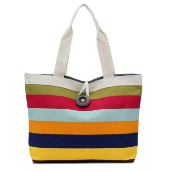 Lady Colored stripes Shopping Handbag Shoulder Canvas Bag Tote Purse Red - intl