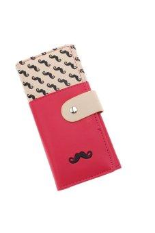 LALANG Women's Moustache Beard Zipper Leather Long Purse Wallet Card Rose Red - intl