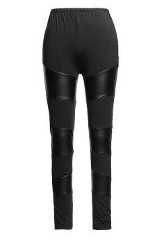 ZANZEA Women Stitching Stretchy Faux Leather Black Tights Leggings Pants Sexy (Intl)
