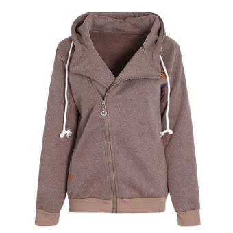 Women Hoodie Sweatshirt Jumper Sweater Pullover Coat Winter L Khaki - intl