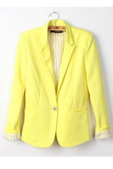 Cyber Women Candy Color Basic Coat Slim Blazer Yellow - intl