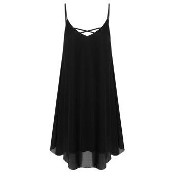 Cyber Zeagoo Women Spaghetti Strap Chiffon Sundress Sleeveless Beach Dress (Black) - Intl