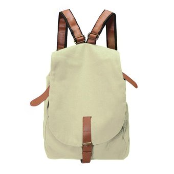 Linemart Women Fashion Vintage Canvas Satchel Rucksack Travel Schoolbag Bookbag Backpack ( White ) - intl
