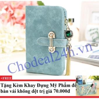 Ví nữ mẫu nhỏ gọn CDVN01 (xanh dương) + Tặng kèm khay đựng mỹ phẩm để bàn