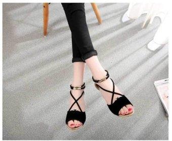 Sexy Cross Strap Zipper Design Wedge Heel Sandals for Women (Black) )--TC - intl