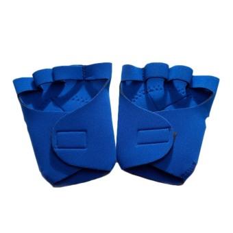 Fancyqube Non-skid Half Finger Mitten Sports Safety Men's Weightlifting (Blue)
