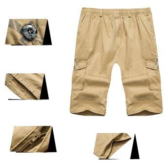 Summer Men's Cargo Pants Multi Pocket Casual Sport Short Pants Large Size(Khaki) - intl